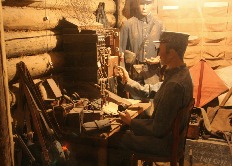 Model of WWI signallers at work