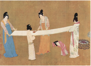 (Court ladies making silk, painted by the Song dynasty Emperor Huizong, a remake of an 8th-century original by Tang dynasty artist Zhang Xuan.)