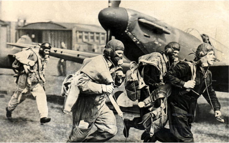 RAF pilots scramble to get airborne at Biggin Hill (Photo Credit: Rex; from http://www.telegraph.co.uk/history/battle-of-britain/11729951/Battle-of-Britain-Wasnt-that-a-Viking-invasion.html)