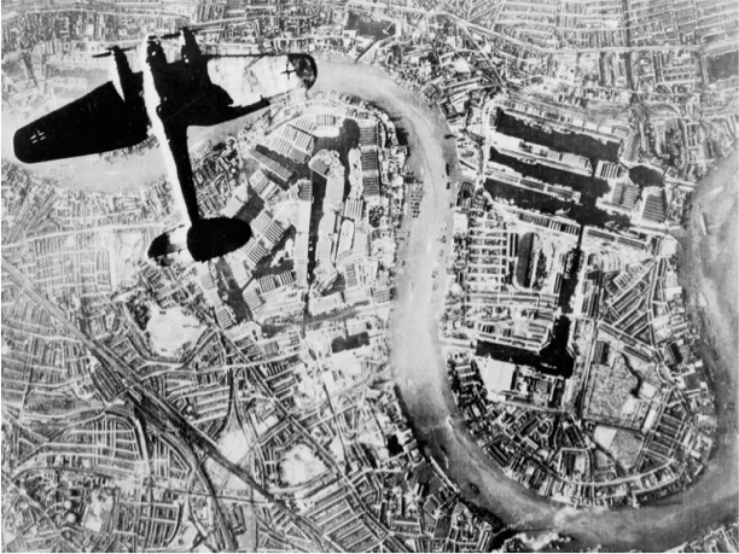 Heinkel He 111 bomber over the Surrey docks and Wapping in the East End of London on 7 September 1940 (Public domain image from the collections of the Imperial War Museums)