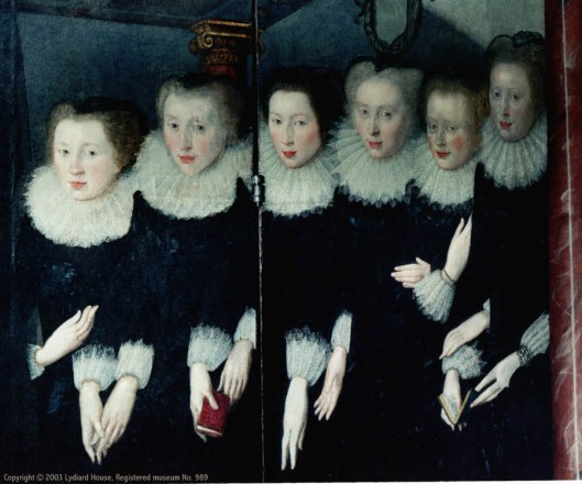 The six St. John sisters who feature in The Lady of the Tower, from a Polyptych at St. Mary's Church, Lydiard Park