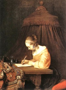 Writer with pen
